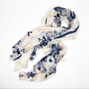 Large Cream & navy floral thin flowy scarf wrap